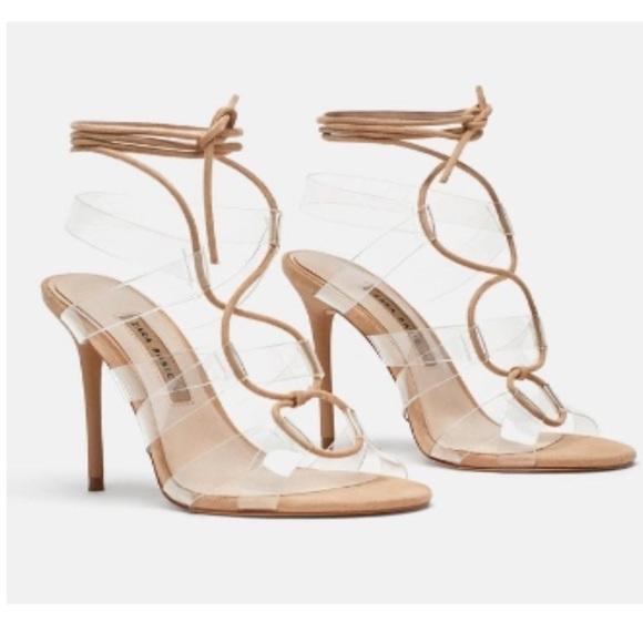 ZARA Heeled Vinyl Tie Sandals